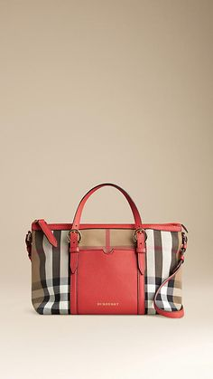 Burberry Bright Coral Red House Check Tote Bag - House check tote bag with external pocket and trim in grainy leather. Flat leather handles with equestrian buckle detail, leather shoulder strap. Discover the childrenswear collection at Burberry.com