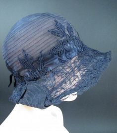 1920's Blue Straw Cloche Hat