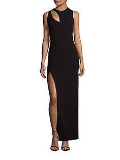 Aidan Mattox Sleeveless Column Gown - Black - Size