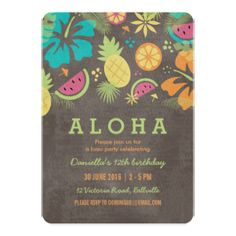 Hawaiian Luau Kids Party Invitation                                                                                                                                                                                 More