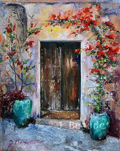 #Original Oil #Painting #PaletteKNIFE Italy #Door by JBeaudetStudios, $275.00 by Jennifer Beaudet