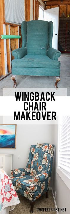 TwoFeetFirst – Reupholster a Wingback Chair