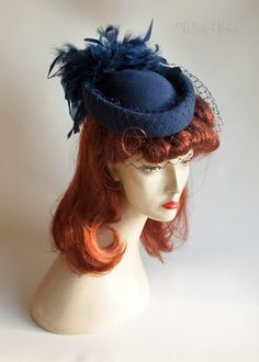 Vintage Retro 1970s/80s Navy Blue Pill Box Hat with Feathers & Veil by UpStagedVintage on Etsy