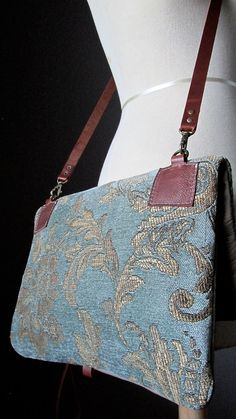 Taupe leather clutch Tapestry Crossbody leather by VitalTemptation