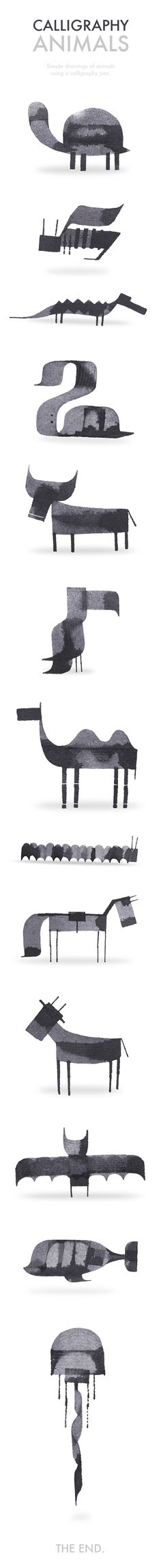 More Calligraphy Animals by Andrew Fox, via Behance
