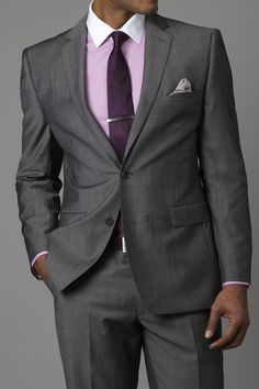 Dark Grey Suit with splash of purple. A 6FigureJobs color favorite. Work business attire to dress for success
