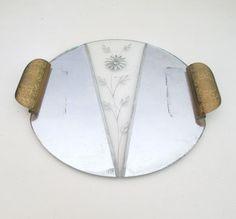 Art Deco Vanity Mirror Tray // Vintage Bedroom by looseendsvintage