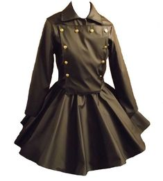 Gothic Jacket Skirt Goth Cosplay Lolita Black Vinyl Military Jacket and Circle Skirt Custom Size Plus Size. $329.95, via Etsy.