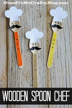 Wooden Crafts Turn an ordinary wood craft spoon into a one-of-a-kind chef themed friend today! Check out our Wooden Spoon Chef Kid Craft Plastic Spoon Crafts, Wooden Spoon Crafts, Wooden Spoons, Painted Spoons, Glue Crafts, Craft Stick Crafts, Preschool Crafts, Diy And Crafts, Diy For Kids