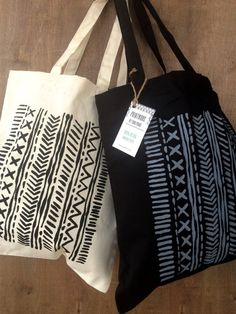 Tote Bag  100% Cotton  Vertical Patterns and Lines  by printwork