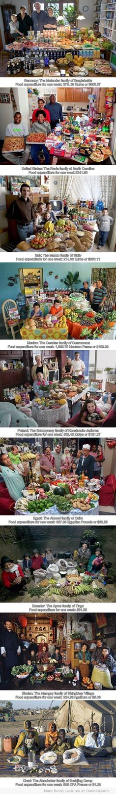 food consumption by families in different countries