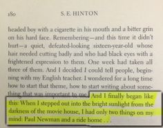 The Outsiders  by S.E. Hinton this is my fav. Part of the whole book!!