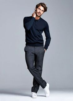 48b151b786 Navy Henley long sleeve shirt with gray pants with white sneakers in this  minimal casual combo