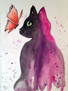 Original Watercolor Cat with Butterfly by misspixie93 on Etsy