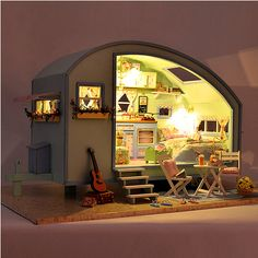 Cuteroom DIY Wooden Dollhouse Miniature Kit Doll house LED+Music+Voice Control Coupon code: 8dollhos