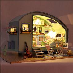 Cuteroom diy dollhouse bois kit miniature maison de poupée LED + musique + commande vocale