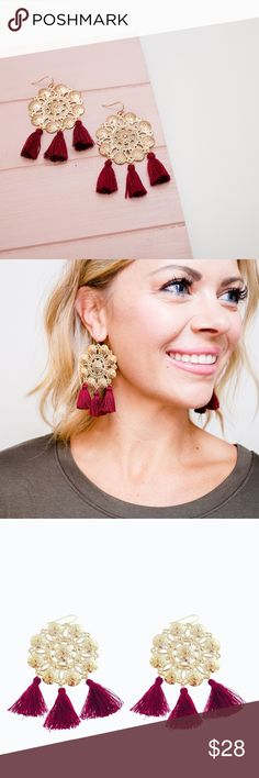 NWT Burgundy Tassel Medallion Earrings Anyone fancy tea & biscuits? These earrings will help you earn your British stripes. The delicate gold-plated filigree & tiny tassels in a rust hue make any occasion feel regal.  Gets along with: A short dress with a high neckline. Goes great with: Binge watching The Crown on Netflix.  Product Details: - Fish hook back - Measurements: 3.25″ long - Materials: Gold plated filigree  This brand is sold at Anthropologie, Nordstrom, & Saks. I have other…
