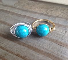 Silver OR Gold Turquoise Wire Wrapped Ring bead by SoSheDidShop