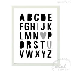 Alphabet Wall Print / Block Monochrome Alphabet Wall Art / Monochrome Girls Room / Monochrome Boys Room / Black and White Nursery Print by MintImprint on Etsy https://www.etsy.com/listing/213103025/alphabet-wall-print-block-monochrome