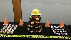 Construction hat and cupcakes