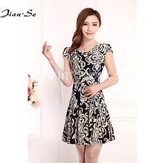 Women's Casual/Print/Plus Sizes Micro-elastic Short Sleeve Knee-length Dress (Chiffon/Polyester) - USD $10.99