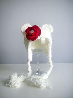 Baby Bear Hat,  Red Flower, Bear hat prop, Newborn ears Hat, Baby Girl Hat, Prop, Photographer, So soft hat. $14.95, via Etsy.