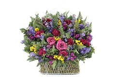 "13""diameter  Roses/moss/ammobium/celosia/lavendar/larkspur/globe/sinuata/fern/German statice/ $55/75"