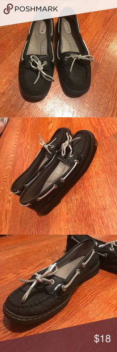 Black and silver sperrys Silver laces and sparkles on the side, size 7! Sperry Shoes Flats & Loafers