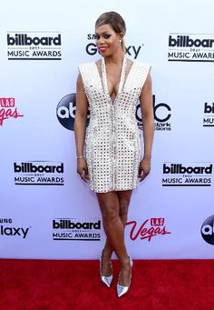"""""""Orange is the New Black"""" actress Laverne Cox wears a seriously sparkling short white Marc Bouwer dress on the red carpet."""
