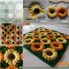 how to make sunflower rug/blanket tutorial, instruction.  Follow us: http://on.fb.me/1rWIbQo