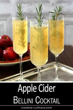A simple seasonal cocktail for the Fall and Winter holidays. This Apple Cider Bellini Cocktail with Rosemary is so easy and just perfect for breakfast, brunch or your holidays meals. Apple Cider Cocktail, Cider Cocktails, Fruity Cocktails, Summer Cocktails, Tequila Sunrise, Mojito, Maple Syrup Bottles, Bellini Cocktail, Rosemary Recipes