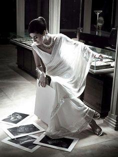 The quintessential white saree.