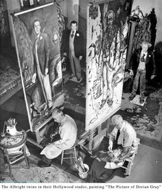 Ivan Le Lorraine Albright, Hurd Hatfield, and Henrique Medina in The Picture of Dorian Gray Dorian Gray Painting, Dorian Gray Portrait, Artist Art, Artist At Work, Gray Aesthetic, Surrealism Painting, Grey Art, Grey Tattoo, Love Illustration
