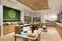 The geometric patterned oak in the storefront and interior ceiling bring an element of modernity to a traditional building material. It reinforces the idea of using old-world ideas in a current and exciting way; the way the client combines ancient apothecary blending methods with modern day living.