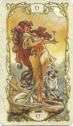 The elegant Tarot Mucha celebrates the Art Nouveau style of painter Alphonse Mucha. Art Nouveau, Tarot Card Decks, Tarot Cards, Tarot The Fool, Art Deco Artwork, Alphonse Mucha Art, Tarot Major Arcana, Tarot Learning, Tarot Card Meanings