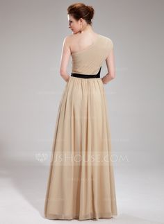 A-Line/Princess One-Shoulder Floor-Length Chiffon Evening Dress With Ruffle Sash Bow(s) (017019730) - JJsHouse