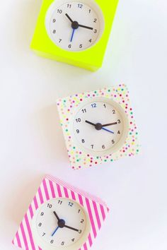 The peppy colors and punchy patterns on these little alarm clocks will wake up your dorm room. Each VACKIS clock is just 99 cents at IKEA, and one roll of washi tape from the craft store is enough to cover several of them. See how Sara from Tell Love and Party decorated the ones above.