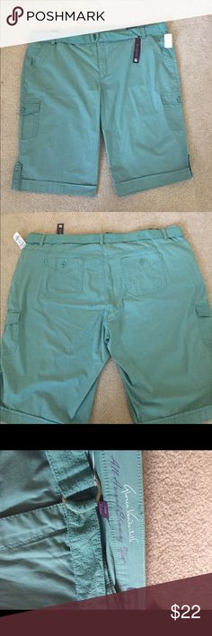 """NWT Hello Spring Slimming Skimmer New slimming all around Skimmer. Pockets in the front, sides and back. Includes matching belt. 26"""" waist to bottom. 24"""" waist flat. Color is Aqua. Very pretty and perfect for Spring and Summer. Gloria Vanderbilt Shorts"""