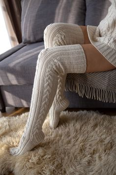 Cable Knit Socks, Merino Wool Socks, Knitting Socks, Hand Knitting, Bed Socks, Thigh High Socks, Warm And Cozy, Stylish Outfits, Sexy Lingerie