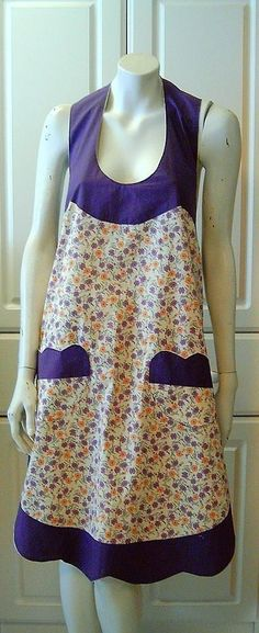 Vintage Style New Handmade Cotton Apron Orange Lavender Floral - 1922 Pattern #Handmade
