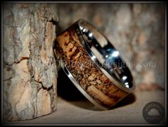 """Bentwood Ring - """"Figured Brown"""" Rare Mediterranean Oak Burl Wood Ring with Surgical Grade Stainless Steel Comfort Fit Metal Core - Bentwood Jewelry Designs - Custom Handcrafted Bentwood Wood Rings  - 1"""