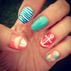 Nautical nails #Beauty #Nails #Summer    Visit my site Real Techniques brushes -$10 http://realtechniques.tumblr.com/  #nails   #women #beauty #beautywomen