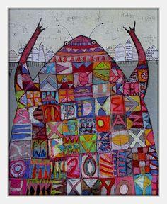 Elke Trittel acrylic,collages on board 40x50cm #mixedmedia