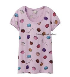 New-Uniqlo-x-Laduree-Paris-Macaron-Print-T-Shirt-Tee-Short-Puff-Sleeve-Lilac-JP