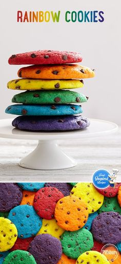 Bright, bold colors aren't just for your summer wardrobe. Try this trend with your next batch of chocolate chip cookies! Serve on a white platter to let the colors truly pop.(Baking Cookies With Kids) Cupcakes, Cake Cookies, Cupcake Cakes, Baking Cookies, Cookie Favors, Rainbow Food, Taste The Rainbow, Rainbow Treats, Rainbow Baking