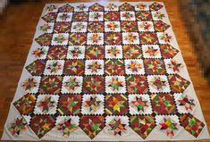 """""""Autumn Majesty"""" - new top finished — Quilted Twins Cross Patterns, Quilt Block Patterns, Pattern Blocks, Quilt Blocks, Fall Quilts, Windham Fabrics, Twin Quilt, Fabric Birds, Wave Pattern"""