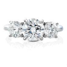 Round Diamond Three Stone Ring in Platinum - Lux Bond & Green