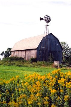 barn and windmill