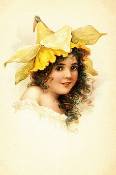 Vintage postcards: Four girls with flower hats