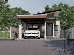 One Storey Narrow House Design - House And Decors One Floor House Plans, Duplex House Plans, Small House Plans, Narrow House Designs, Small House Design, Modern House Design, Two Bedroom House Design, Modern Architectural Styles, One Storey House